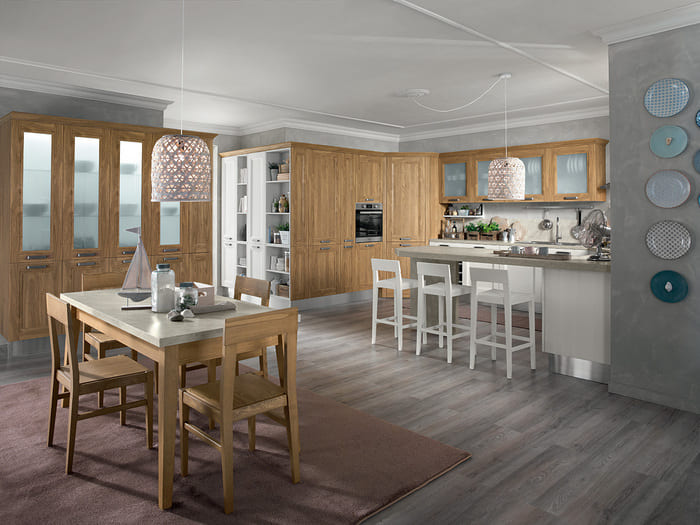 Colombini Casa Cucina Moderna Riviera finitura noce champagne 80 81