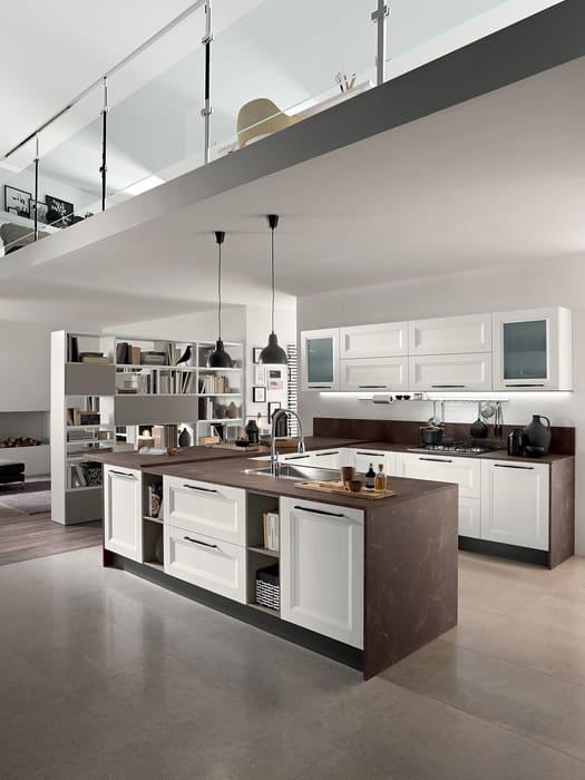 Colombini Casa Cucina Moderna Riviera isola con sportelli larice bianco 10 1