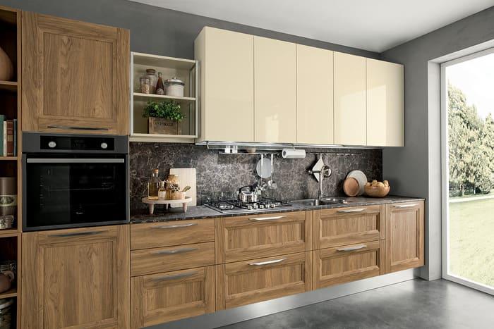 Colombini Casa Cucina Moderna Riviera sportelli avorio e legno 51a