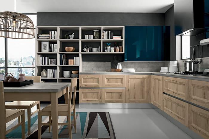 Colombini Casa Cucina Moderna Riviera sportelli legno naturale 30 31