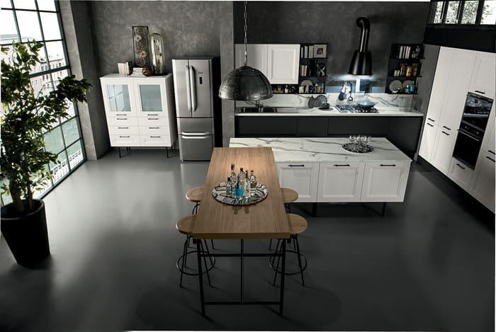 Colombini Casa Cucina Moderna Riviera tavolo penisola legno 66