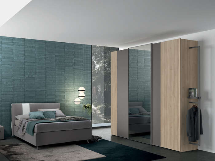 Colombini Casa camera matrimoniale armadio stile moderno anta vetro Golf M223 120 a