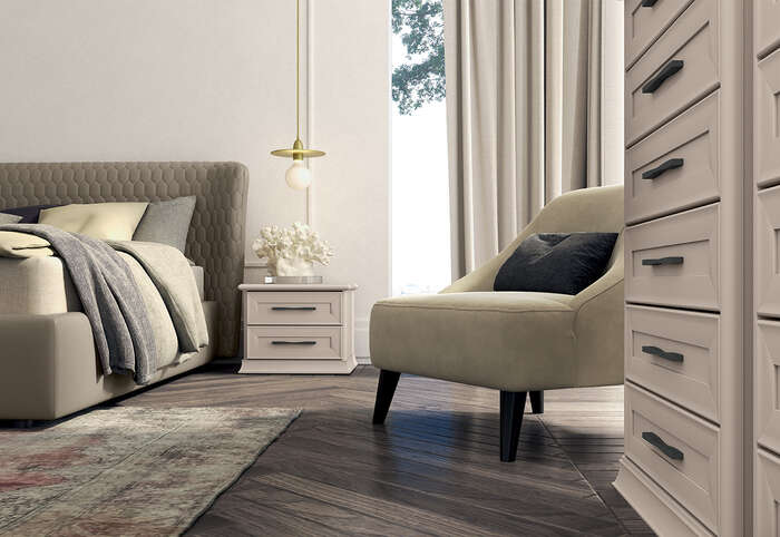 Colombini Casa camera matrimoniale comodino bianco stile contemporaneo Electa EM02 16 17