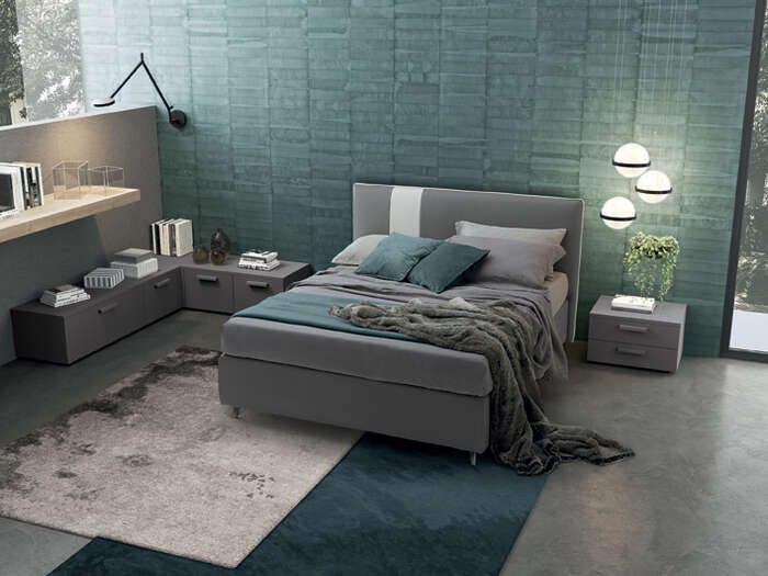 Colombini Casa camera matrimoniale letto grigio con striscia bianca stile moderno Golf M223 120 b