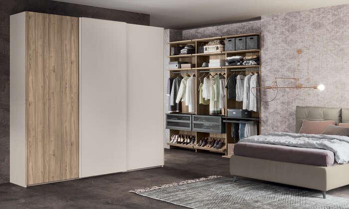 Colombini Casa camera matrimoniale moderna armadio bianco e legno golf M201 008 009