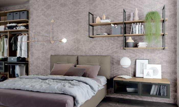 Colombini Casa camera matrimoniale moderna con letto imbottito golf M201 010 011