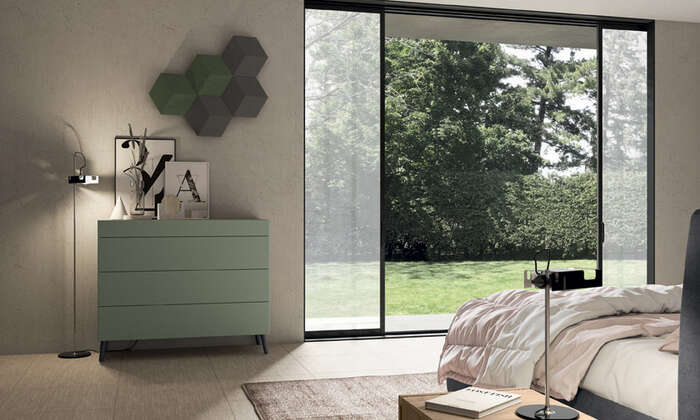 Colombini Casa camera matrimoniale stile moderno comò verde golf M202 017