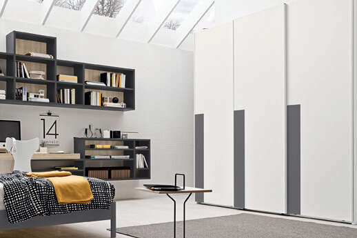 Colombini Casa camera per ragazzi armadio moderno bianco e grigio Y222 112