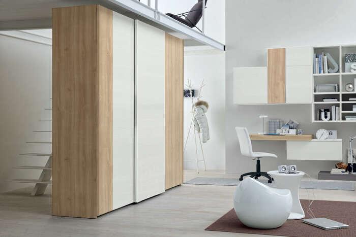 Colombini Casa camera per ragazzi armadio moderno bianco e legno Y227 132