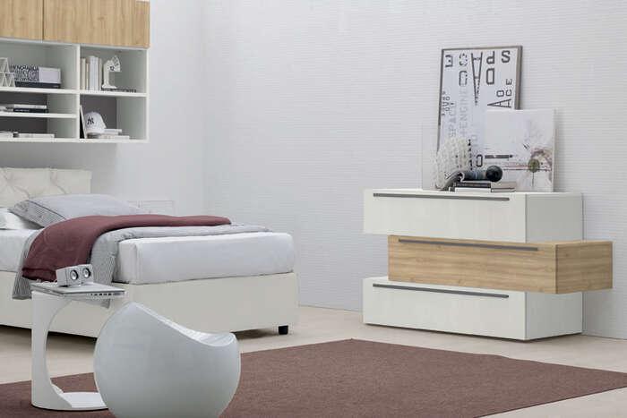 Colombini Casa camera per ragazzi comò moderno cassetti sfalsati Y227 133 a