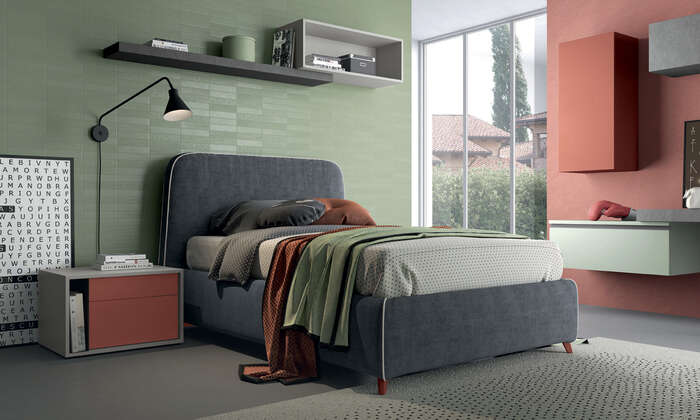 Colombini Casa camera per ragazzi letto imbottito moderno Y204 030 031