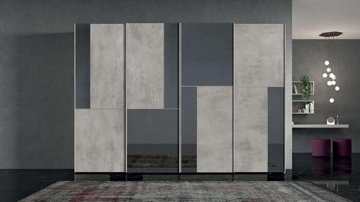 armadi in stile moderno con anta scorrevole vetro e legno