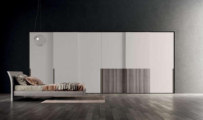 armadi moderni con anta scorrevole bianco