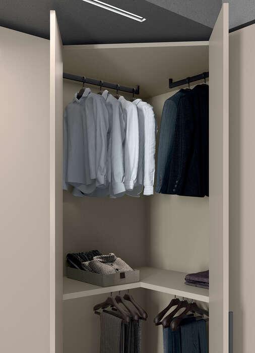 armadio anta battente canapa concreta dettaglio interno