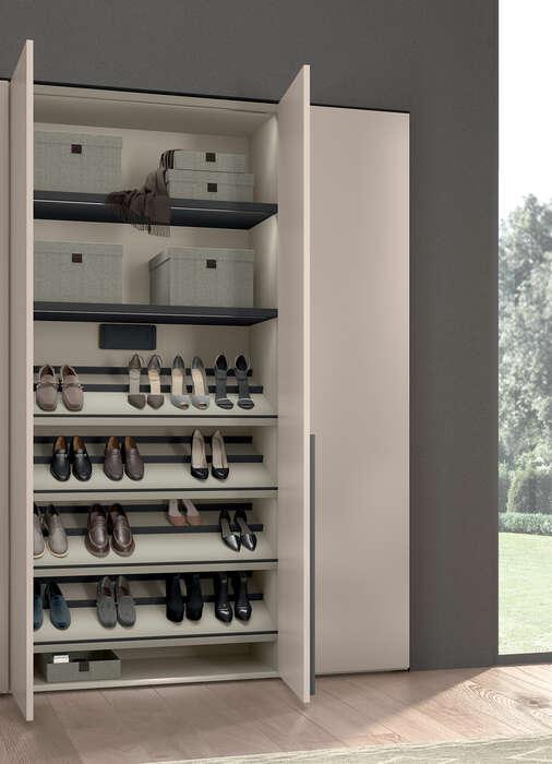 armadio anta battente canapa concreta scarpiera interna