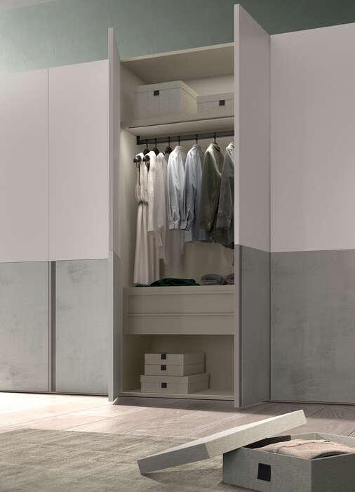 armadio anta battente in stile moderno cutting interno