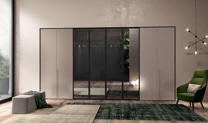 armadio anta battente in stile moderno solid vetro e legno