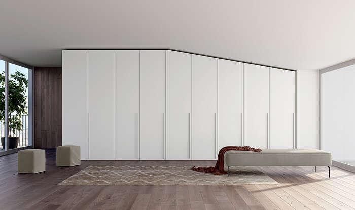 armadio con anta battente in stile moderno concreta bianco opaco