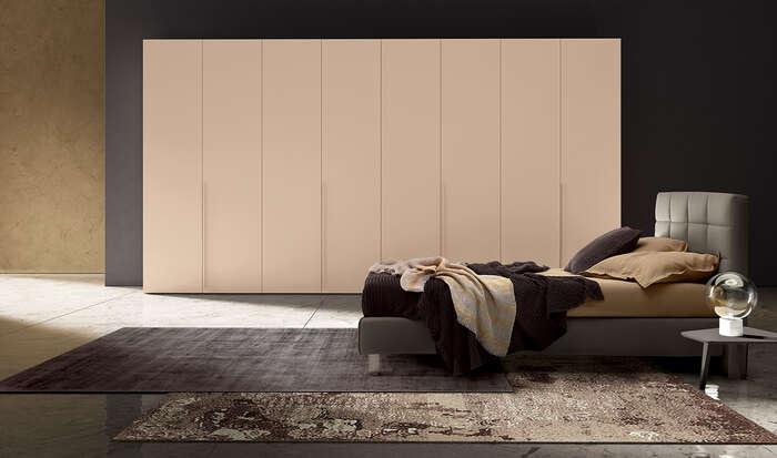 armadio con anta battente in stile moderno concreta cachemire opaco