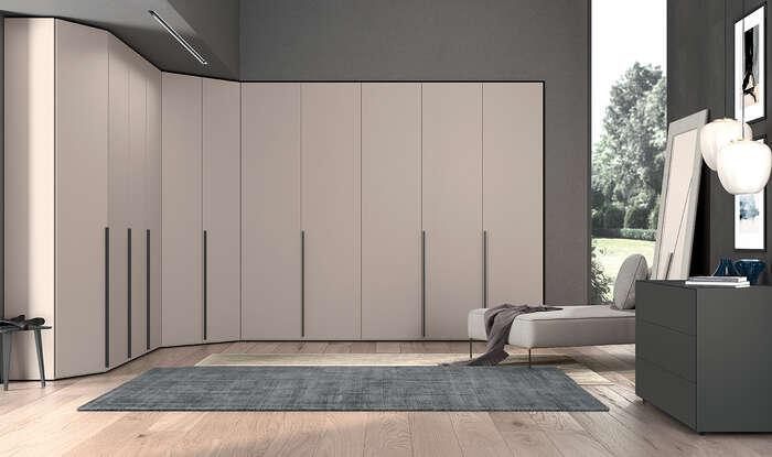 armadio con anta battente in stile moderno concreta grigio daytona