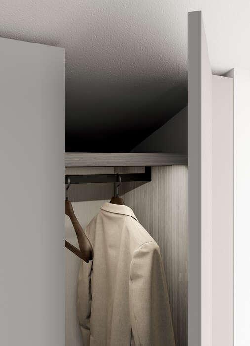 armadio con anta battente in stile moderno concreta grigio dorian interni