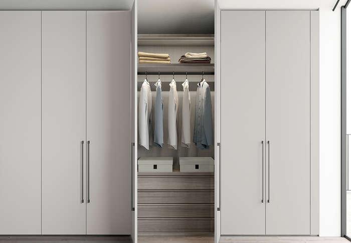 armadio con anta battente in stile moderno concreta grigio dorian