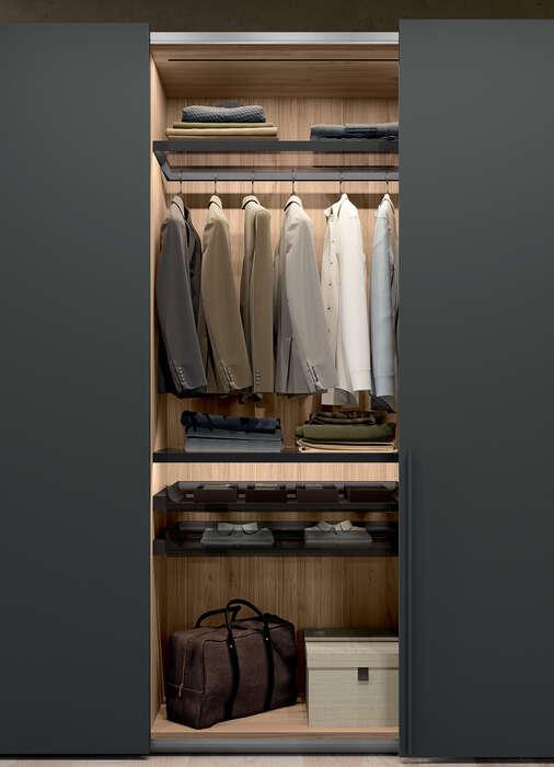 armadio con anta battente in stile moderno concreta grigio titanio portabiti