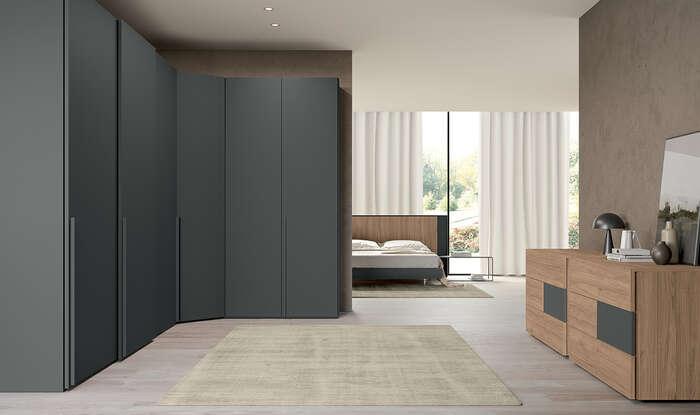 armadio con anta battente in stile moderno concreta grigio titanio
