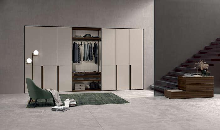 armadio con anta battente in stile moderno cutting canapa