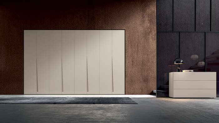 armadio con anta battente in stile moderno fashion beige canapa