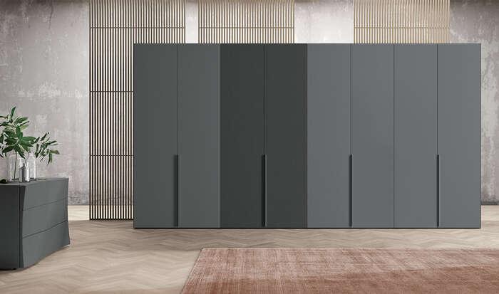 armadio con anta battente in stile moderno style grigio titanio
