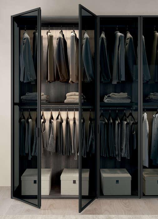 cabina armadio vetro concreta interni