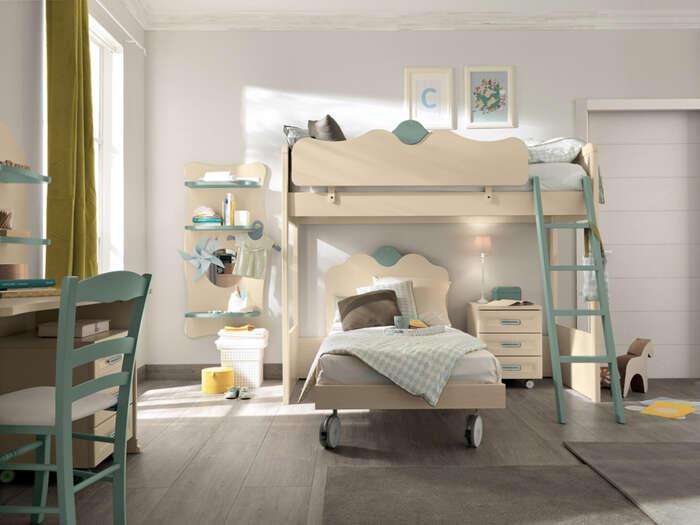 camerette bambini stile classico composizione tipo beige e verde dettaglio letto a castello 1