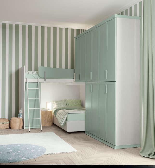 camerette per bambini in stile classico con letto a soppalco e armadio