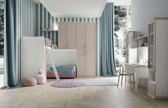 camerette per bambini in stile classico con letto a soppalco